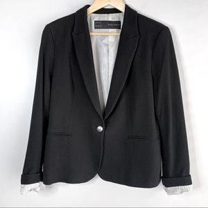 Black Zara Basic Blazer with Button Closure, XL